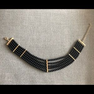 Black with Gold Trim Choker Necklace